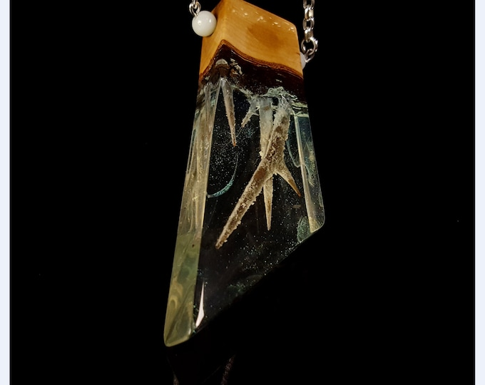 Glowing Thorn Forest Statement Pendant, geometric wood & resin necklace.