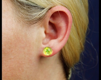 Lemon-Lime Opal Studs, handmade resin jewelry, ball stud earrings.