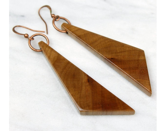 Modern geometric wood earrings dark brown dangle earrings bohemian gypsy style jewelry reclaimed wood jewelry warm color jewelry