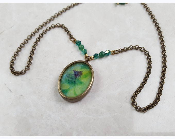 Resin Flower Pendant, glow in the dark simple necklace.