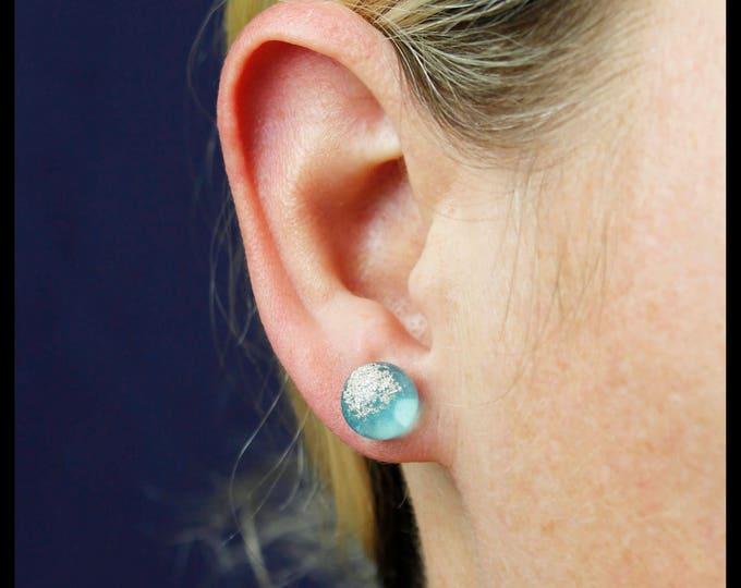 Silver Crystal Stud Earrings, lab grown pure silver crystals locked in resin spheres.