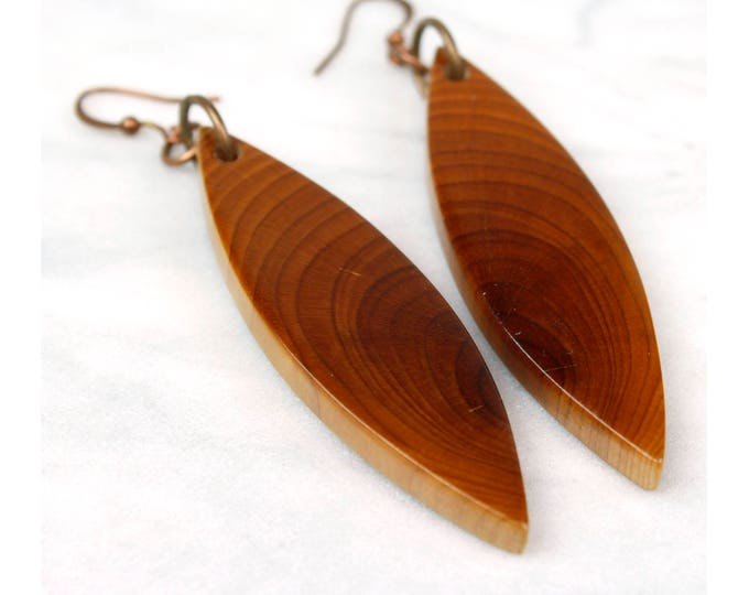 Yew Wood Dangle Earrings, handmade wood jewelry