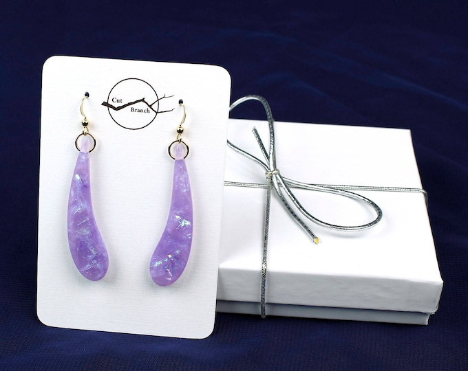 Purple Dangle Earrings, resin jewelry, resin dangle earrings, violet purple white earrings, handmade unique gift for her, teardrop