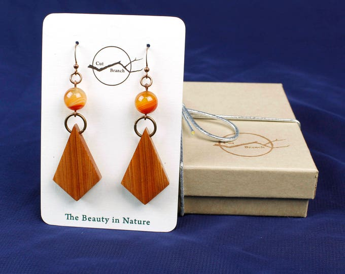 Geometric Wood Earrings Agate Bead wood earring handmade reclaimed wood jewelry bohemian dangle earrings unique wooden handmade earrings