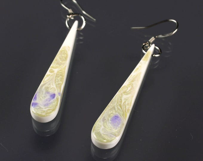 Iridescent Minimalist Teardrop Earrings, violet and metallic swirls, handmade jewelry, small dangle earrings, modern jewelry gift