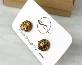 Cherry Wood Bark Studs, Metallic wood bark earrings.