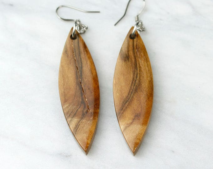 Reclaimed Maple Wood Earrings, handmade unique pattern earrings.