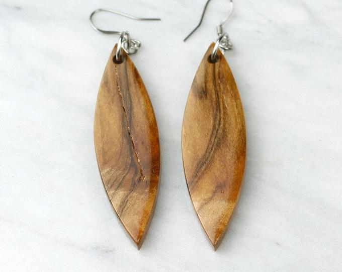 Reclaimed Maple Wood Earrings, handmade unique pattern earrings.
