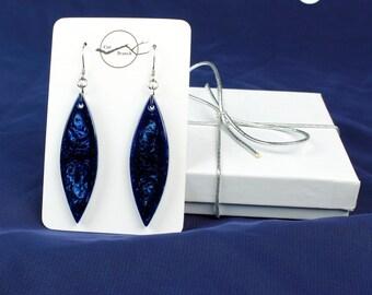 Iridescent Blue Dangle Earrings, dark blue earrings, resin jewelry, blue drop earrings, unique blue gift, iridescent earrings