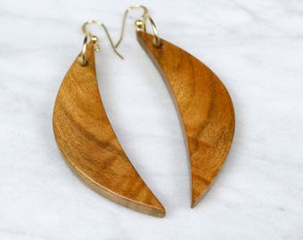 Crescent Moon wood dangles, handmade wooden moon earrings.