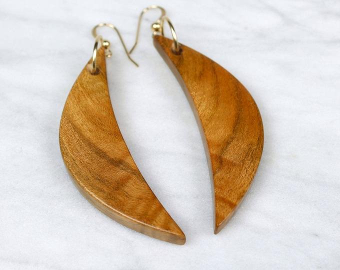 Crescent Moon wood dangles, handmade wooden moon earrings.