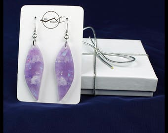 Purple Dangle Earrings, resin jewelry, resin dangle earrings, violet purple white earrings, handmade unique gift for her, wing