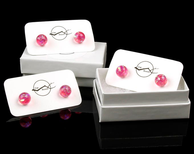 Iridescent Purple Galaxy Studs, handmade resin stud earrings.