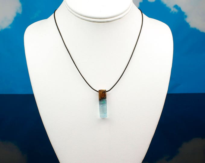 Aurora Opal Rod Pendant, small wood and resin rod necklace.