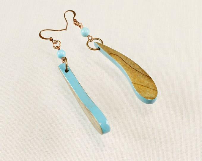 Nature Drop Earrings, blue wood dangle teardrop earrings, gypsy earrings, unicorn botanical jewelry, nature lover gift idea, wood
