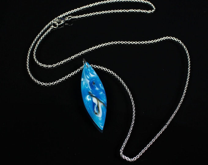 Long Blue Swirling Pendant Necklace, unisex necklace, handmade resin jewelry.