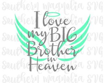 I Love My Big Sister in Heaven Silhouette Cricut Cut | Etsy