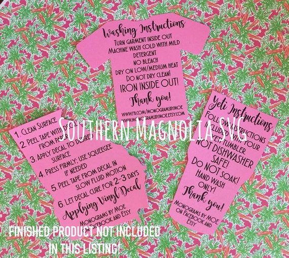 Tumbler Cup Care Card Instructions Print And Cut File Etsy