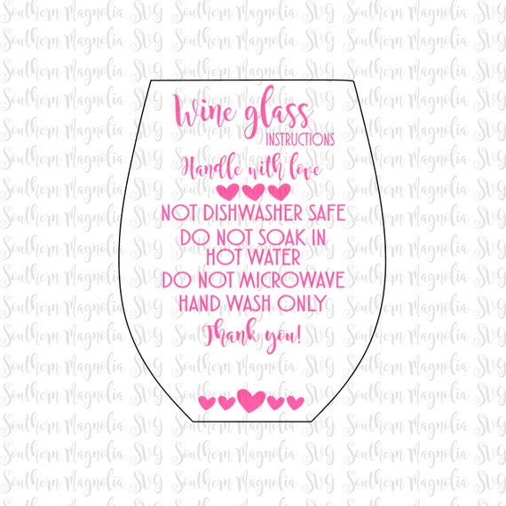 Stemless Wine Glass Care Card Instructions Print And Cut