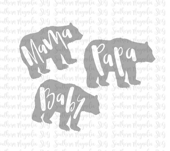 Mama Papa Baby Bear Bundle Silhouette Cricut Cut File Etsy