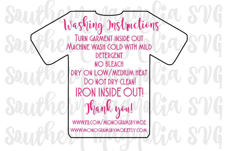 Vinyl Apparel Care Card Instructions - Print and Cut File - Silhouette -  Cricut - Care Instructions - SVG - Design - File ONLY