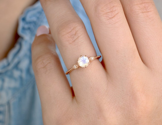 moonstone engagement ring in rose gold