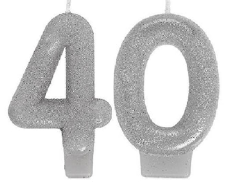 40th Milestone Candles Birthday Silver Glitter Candles Sparkling Party Decorations Supplies