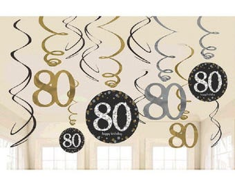 80th Hanging Swirls Milestone Sparkling Birthday Party Decorations 80th Sparkling Silver Gold Supplies