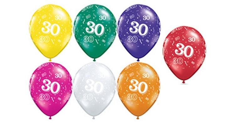 30th Birthday Balloons 11 Milestone 7 Ct
