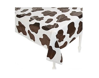 Table Cover Cow Print 54\  x 72\  Plastic Rectangle Birthday Party Table Supplies Tableware  sc 1 st  Etsy & Cow birthday party | Etsy
