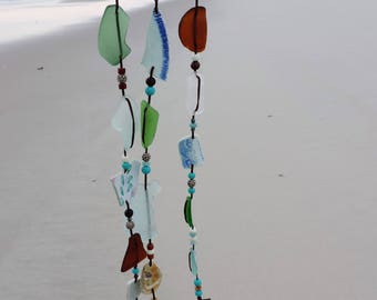 Bohemian Inspired Sea Glass & Stained Glass Wind Chime