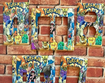 Pokemon 'Gotta Catch 'em All' inspired light switch cover plate wall outlet home decor