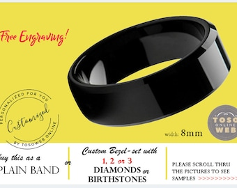 see description for details TS667 Custom Bezel-set Tungsten Band with Diamonds or Birthstones with FREE ENGRAVING