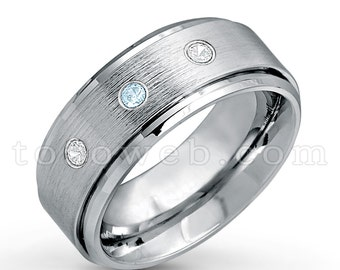 Men/'s Black Diamond Wedding and Anniversary Band 9mm Brushed Center Shiny Beveled Edge Tungsten Carbide Ring TS0232