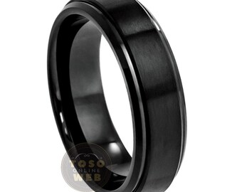 6mm Brushed Center Black Ion Plated Stepped Edge Tungsten Carbide Ring TS0852 Ladies Black Diamond Solitaire Wedding Band