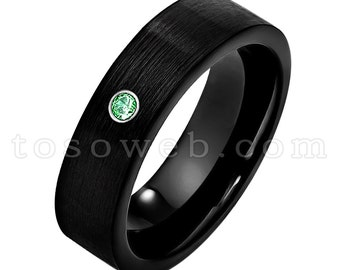 7mm Brushed Black IP Pipe Cut Edge Ladies May Birthstone Ring Emerald Wedding Band Tungsten Carbide Ring TS2322
