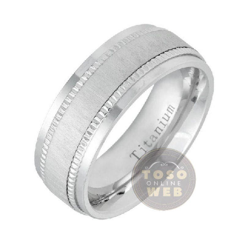 Comfort Fit Anniversary Ring Ti5482 Men/'s 8mm Stepped Edge Polish Titanium Wedding Band w Milgrain Side and Brushed Finish Center