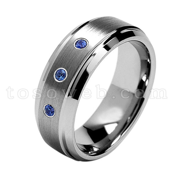 10.5 0.07ct Blue Sapphire Solitaire Titanium Ring September Birthstone Ring 6MM Brushed Finish Comfort Fit Classic Dome White Wedding Band