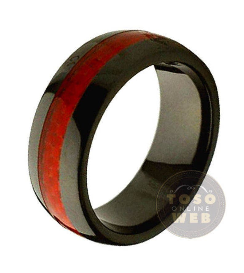 Men/'s 8mm Dome High Polished Black Ceramic Ring w Red Carbon Fiber Inlay Center wedding Band CR2340