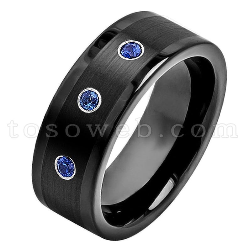 Men/'s Blue Sapphire /& Diamond Wedding Band September Birthstone Ring Brushed Center Black IP Tungsten Carbide Ring TS3742