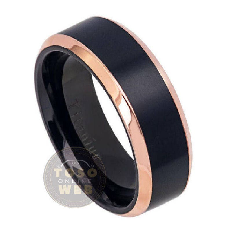 Comfort Fit Wedding Band Ti5812 Men/'s 8mm 2-Tone Rose Gold Plated Beveled Edge w Black IP Brushed Center