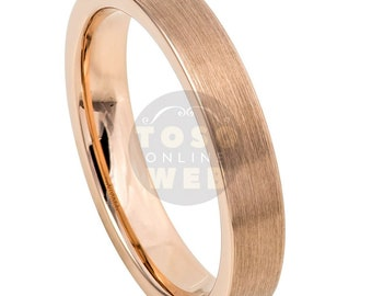 Women's 4mm Pipe Cut Edge High Polish Rose Gold IP Plated with Brushed Center Finish Ring TS7870