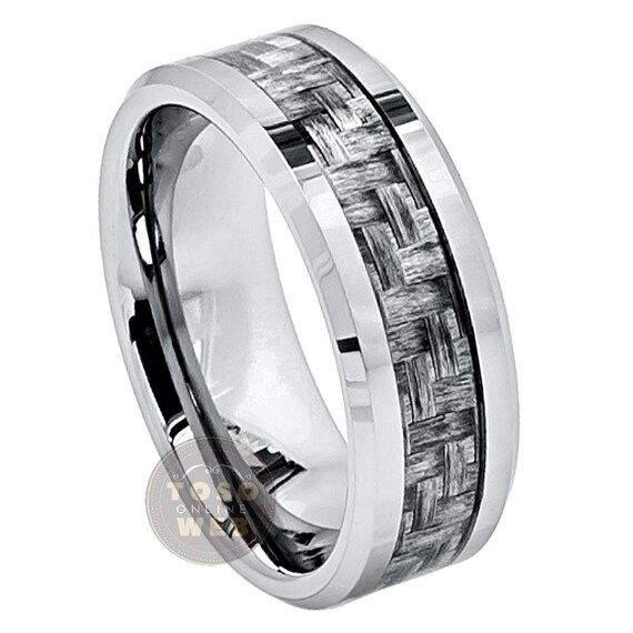 Mens 8mm Beveled Edge Wedding Band Double Grooved Brushed Center Comfort Fit Tungsten Carbide Anniversary Ring