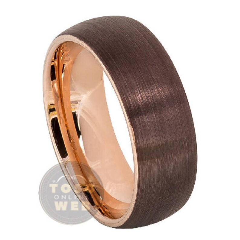 Men/'s 8mm Semi Dome Wedding Band Brown IP Outside Comfort Fit Tungsten Carbide Ring TS5992 Rose Gold IP Plated Inside Brushed Finish Ring