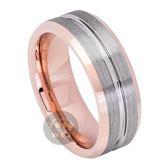 Free Engraving 8mm Tungsten Carbide Two-Tone Black IP Inside Center Groove with Rose Gold IP Finish Beveled Edge Wedding Band Ring