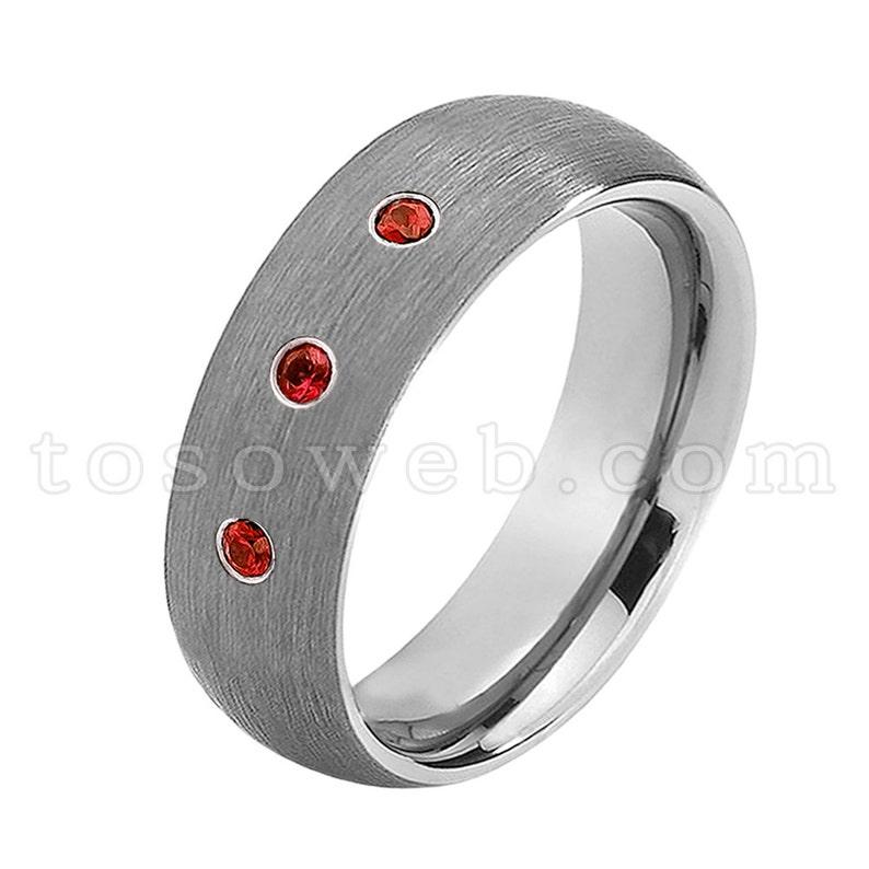 January Birthstone Ring Men/'s Garnet /& Diamond Wedding Band Dome Brushed Center Pipe Cut Edge Tungsten Carbide Ring TS0692