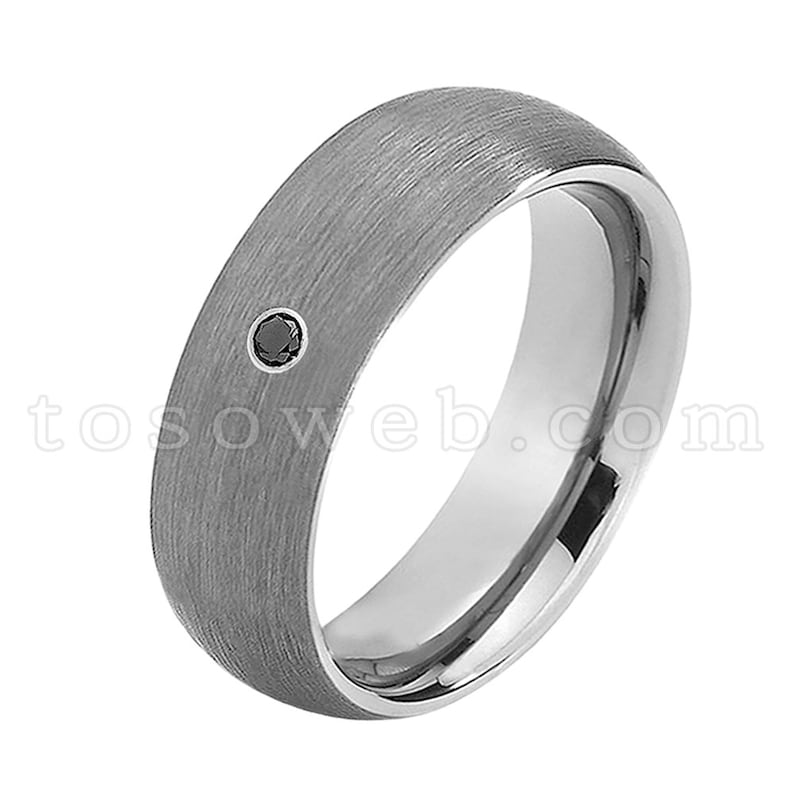 Men/'s Black Diamond Wedding Band 8mm Classic Dome Brushed Center Pipe Cut Edge Tungsten Carbide Ring TS0692