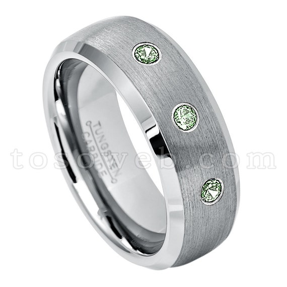 Men/'s Alexandrite Wedding Band June Birthstone Ring 8mm Brushed Center Beveled Edge Tungsten Carbide Ring TS0022