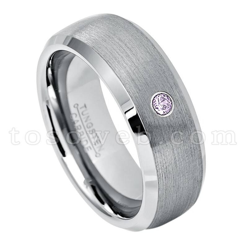 8mm Semi-Dome Brushed Center Beveled Edge Tungsten Carbide Ring TS0072 Men/'s Amethyst Wedding Band February Birthstone