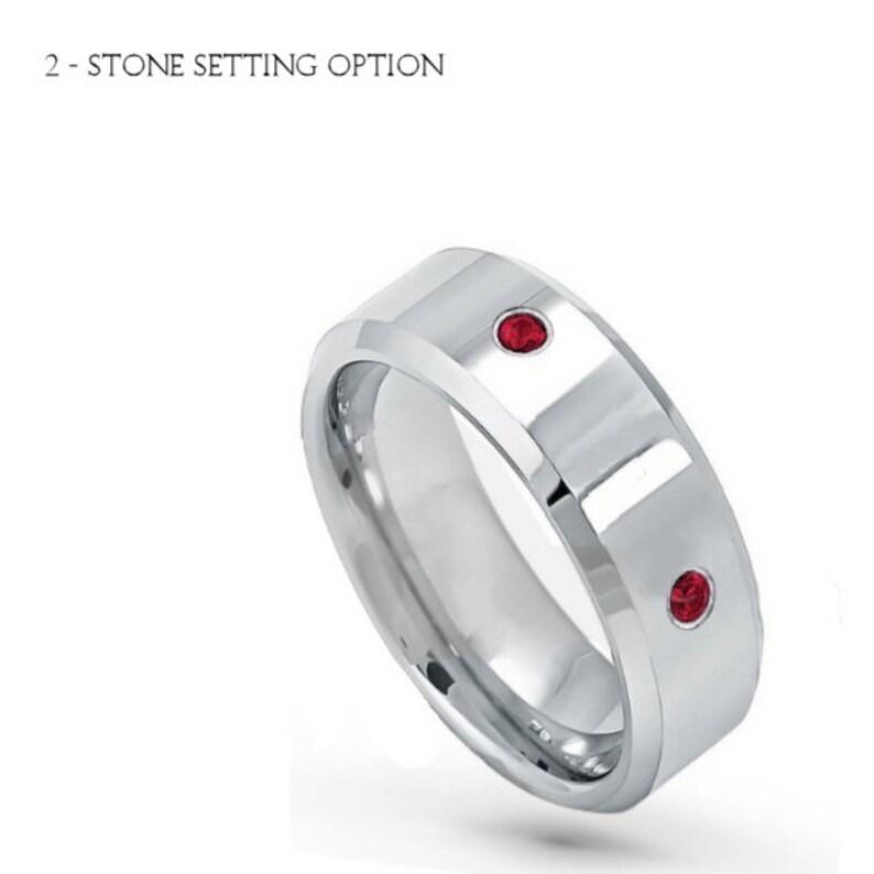 Ruby birthstones bezel-set on Tungsten Ring TS7852 Emerald Alexandrite White Diamond NATURAL  Genuine Black Diamond Sapphire